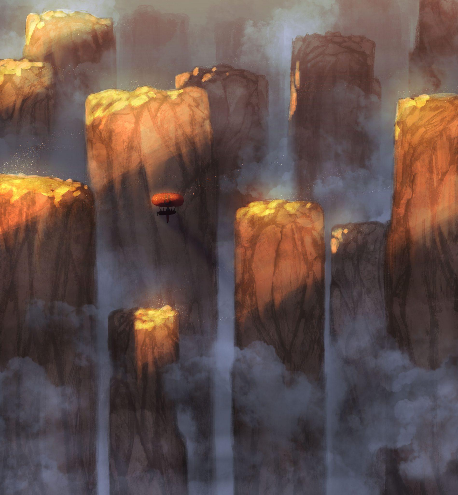 """Cover-Art von """"Die Legende von Kados: Eine letzte Reise""""; zu sehen ist ein Luftschiff mit rotem Ballon, das zwischen großen Felssäulen fliegt, die von Nebel umgeben sind"""