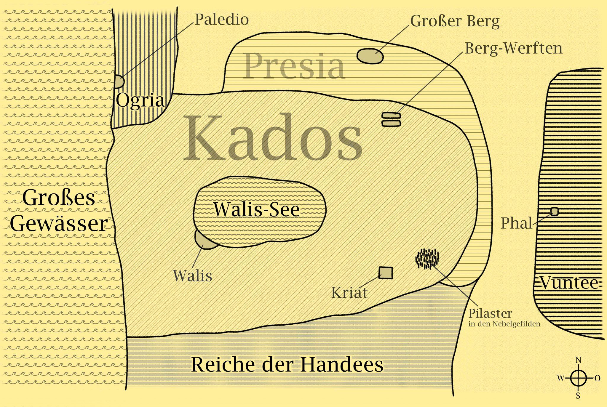 """Fantasy-Weltkarte aus """"Die Legende von Kados"""" mit beigem Hintergrund und Beschriftung"""