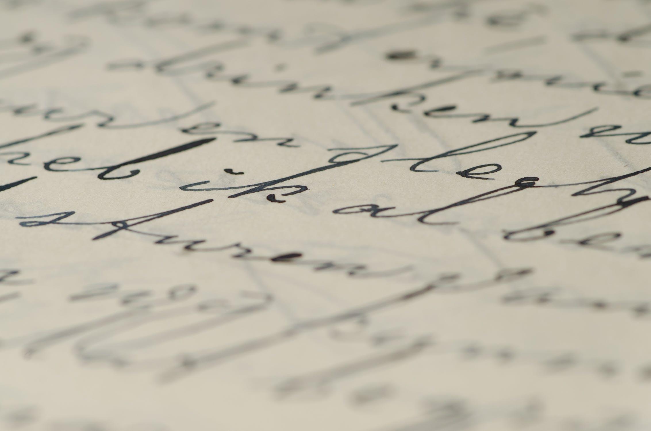 altmodische Schrift mit Tinte auf Papier